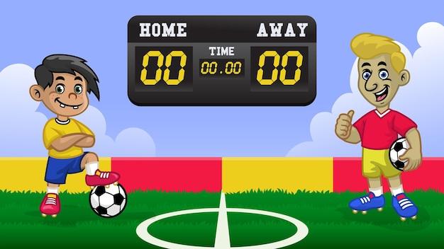 Cartoon kindervoetballer met wedstrijd op het voetbalveld