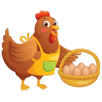 Cartoon kip eieren in de mand houden