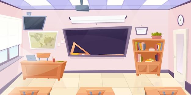 Cartoon klaslokaal met schoolbord