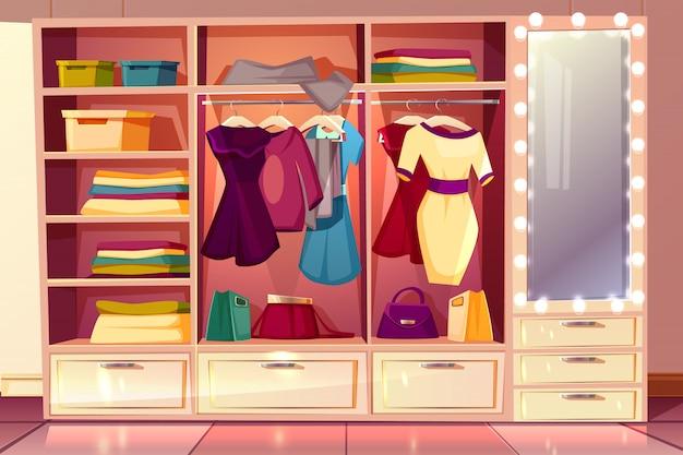 Cartoon kleedkamer van een vrouw. garderobe met kleding, hangers met kostuums