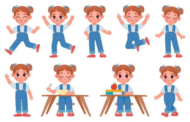 Cartoon klein kind meisje karakter poses en uitdrukkingen. schoolkind zit aan tafel met boeken. leuke meisjes lopen, rennen, springen en eten vectorset