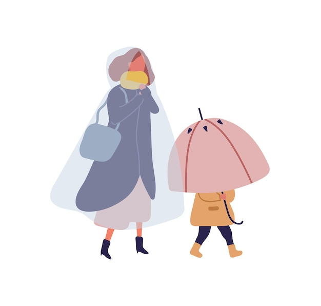 Cartoon klein kind met paraplu wandelen onder de regen met moeder. vrouw in regenjas gaande op straat met kind op regenachtige dag platte vectorillustratie. mensen teken buiten geïsoleerd op wit.