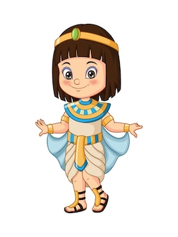 Cartoon klein meisje dat egyptisch cleopatra-kostuum draagt