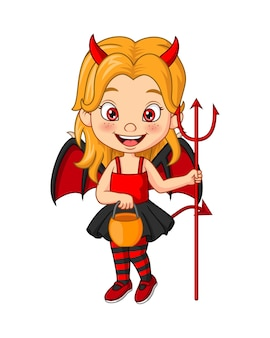 Cartoon klein meisje dat halloween duivelskostuum draagt met hooivork