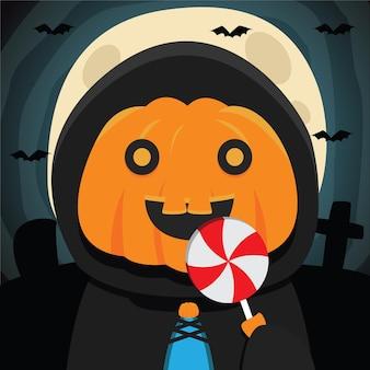 Cartoon klein meisje dat halloween-pompoenkostuum draagt met handsuikergoed