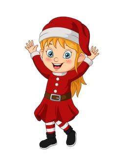 Cartoon klein meisje dat kerstmankostuum draagt