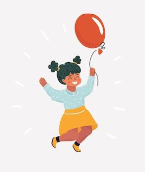 Cartoon klein meisje kind springen