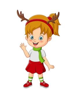 Cartoon klein meisje met hertenkostuum