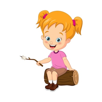 Cartoon klein meisje springtouw