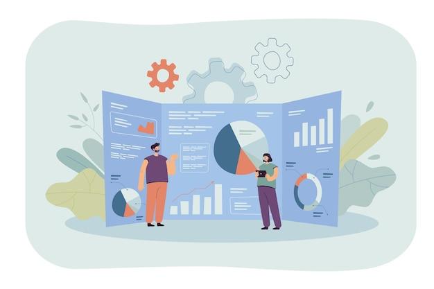 Cartoon kleine analisten en gigantisch onderzoeksdashboard met gegevens. vlakke afbeelding.