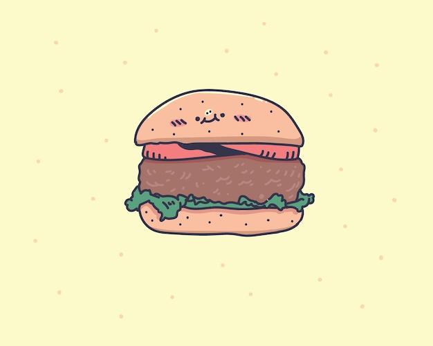 Cartoon kleine hamburger met kaas en sesamzaadjes geïsoleerd op gele achtergrond. hamburger doodle illustratie. handtekening
