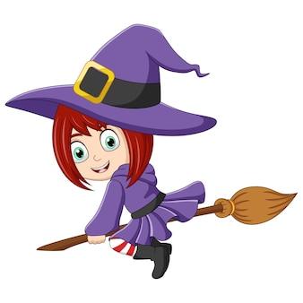 Cartoon kleine heks vliegen met een bezemsteel