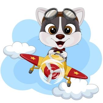 Cartoon kleine hond die een vliegtuig bestuurt