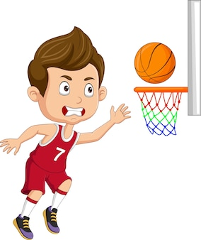 Cartoon kleine jongen die basketbal speelt