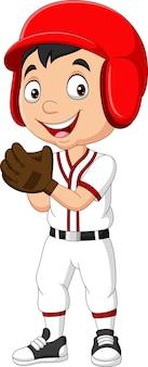 Cartoon kleine jongen die een honkbal speelt