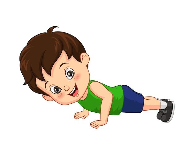 Cartoon kleine jongen doet push-up
