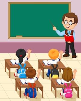 Cartoon kleine jongen een studie in de klas