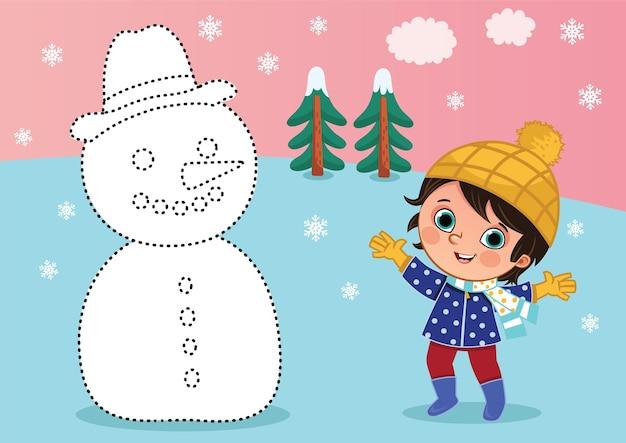 Cartoon kleine jongen en een sneeuwpop van punt naar punt educatief spel voor kinderen vectorillustratie