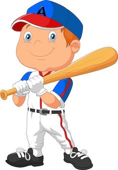 Cartoon kleine jongen het spelen honkbal
