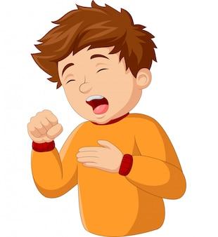 Cartoon kleine jongen hoesten