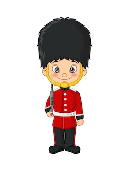 Cartoon kleine jongen in kostuum van britse legersoldaten