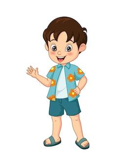 Cartoon kleine jongen in zomerkleding zwaaiend met de hand