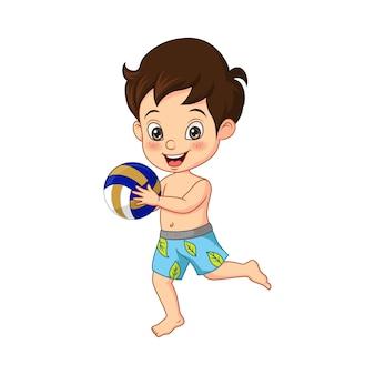 Cartoon kleine jongen met beachvolleybal