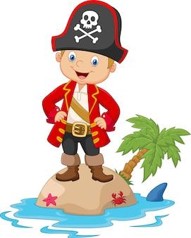Cartoon kleine jongen op het eiland