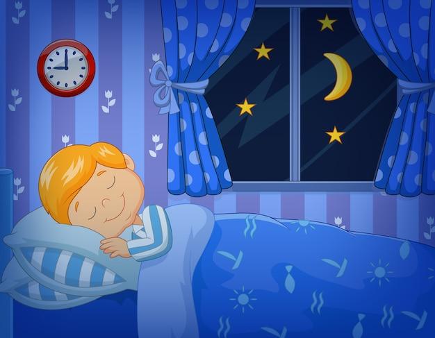 Cartoon kleine jongen slaapt in het bed