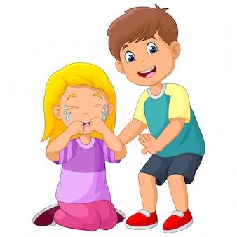 Cartoon kleine jongen troostend een huilend meisje