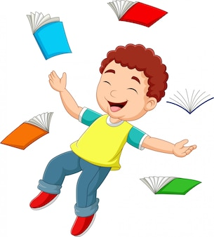 Cartoon kleine jongen vliegen omringd door boeken