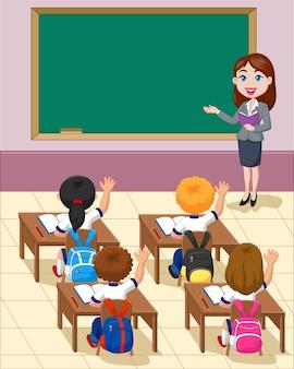 Cartoon kleine kinderen een studie in de klas