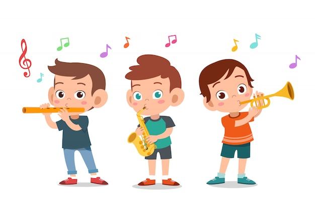 Cartoon kleine kinderen spelen muziek