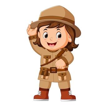 Cartoon kleine meisje scout
