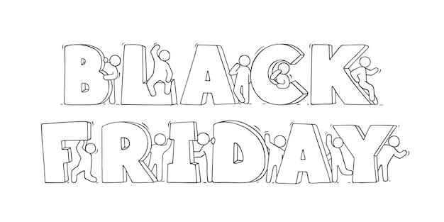 Cartoon kleine mensen met grote woorden black friday. hand getekende illustratie