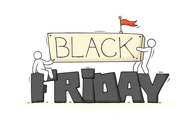 Cartoon kleine mensen met grote woorden black friday Premium Vector