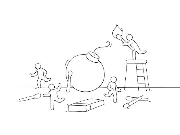 Cartoon kleine mensen rennen weg van de bom. hand getekend