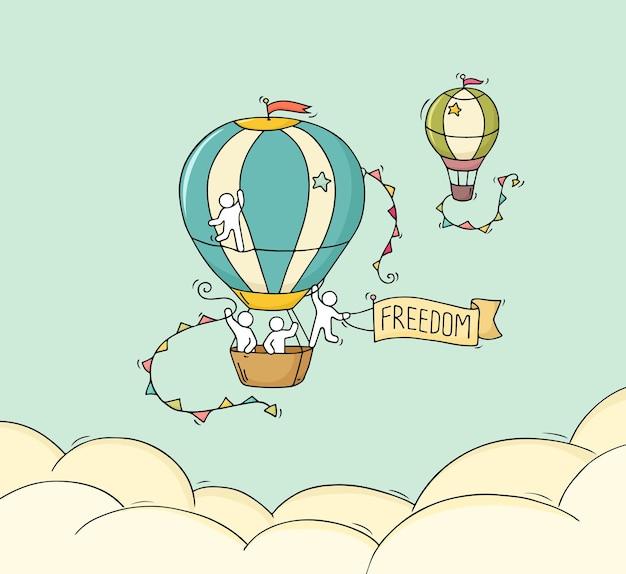 Cartoon kleine mensen vliegen in de lucht. hand getekende cartoon