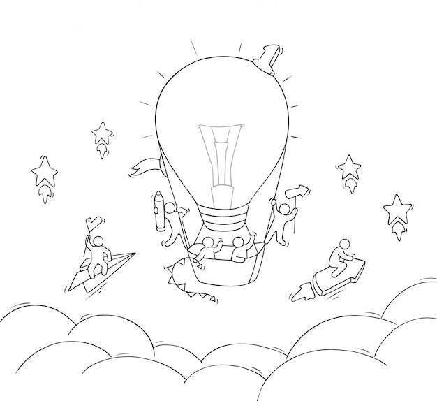 Cartoon kleine mensen vliegen in de lucht.