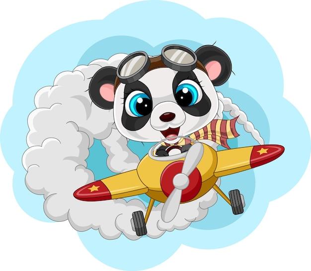Cartoon kleine panda die een vliegtuig bestuurt