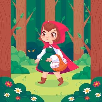 Cartoon kleine roodkapje illustratie