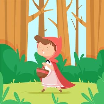 Cartoon kleine roodkapje verhaal illustratie