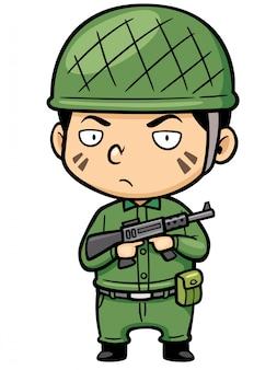 Cartoon kleine soldaat