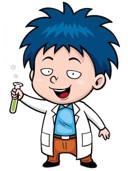 Cartoon kleine wetenschapper