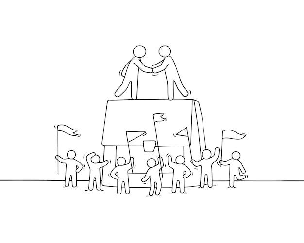 Cartoon kleine zakenmensen met grote zaak. doodle schattige miniatuurscène van arbeiders over samenwerking. hand getekende illustratie.
