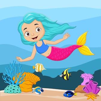 Cartoon kleine zeemeermin in de onderwaterwereld
