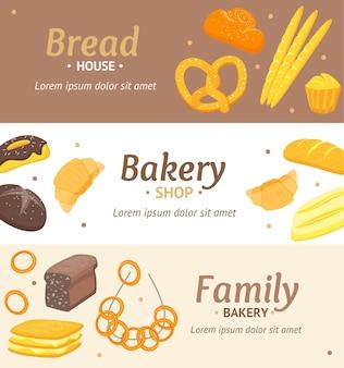 Cartoon kleur bakkerij banner horizontale kaartenset voor winkel, menu