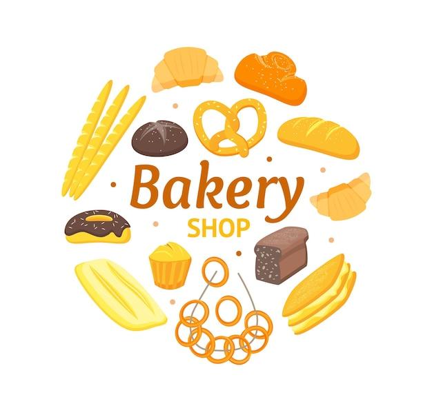 Cartoon kleur bakkerij ronde ontwerpsjabloon bannerkaart kan worden gebruikt voor menu cafe en restaurant