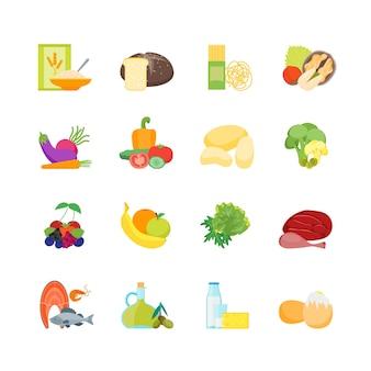 Cartoon kleur gezonde voeding instellen voeding dieet voor gezondheid platte ontwerpstijl