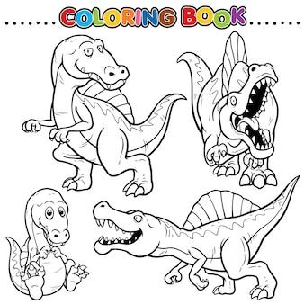 Cartoon kleurboek - dinosauriërs karakter